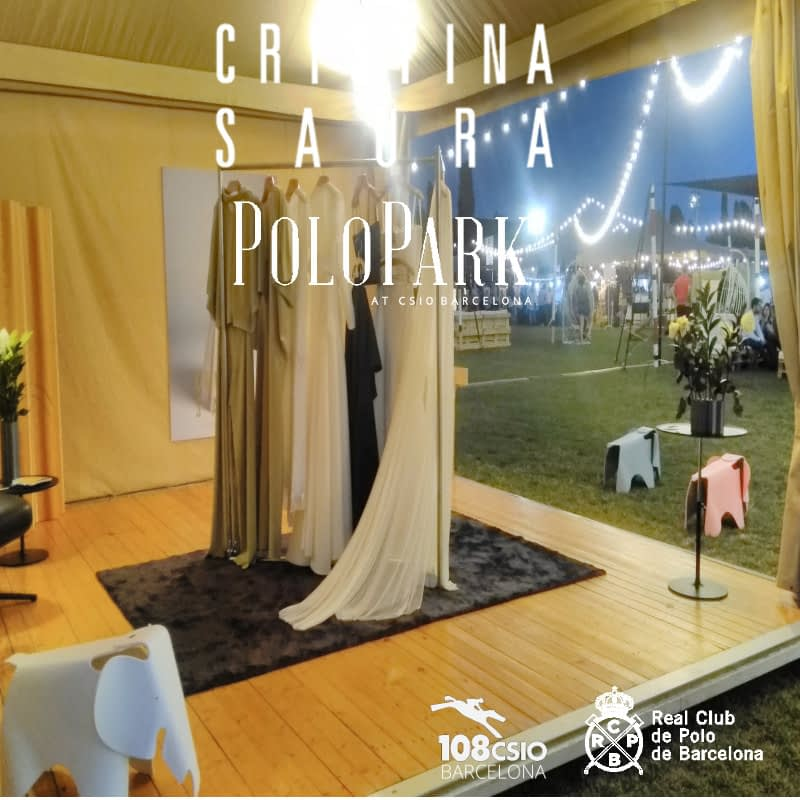 Outstanding presence of CRISTINA SAURA Haute Couture in the Brand Village of the Polo Parck during the celebration of CSIO 2018 in the Royal Polo Club of Barcelona.