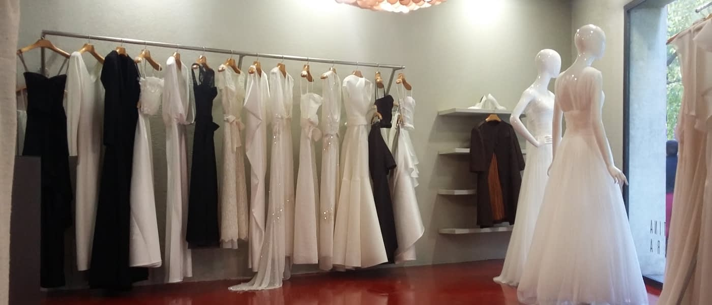 Detail of the interior of the haute couture wedding dress shop in Barcelona by CRISTINA SAURA.