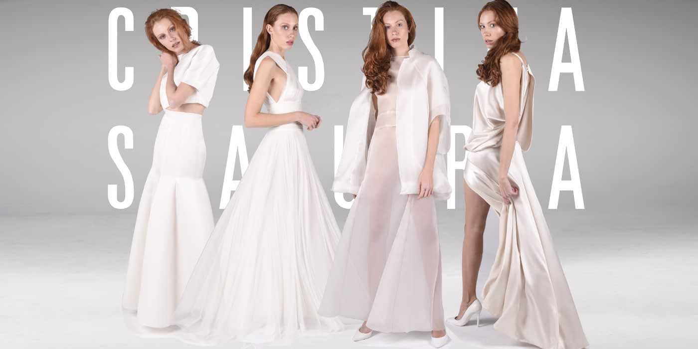 Grupo de diseños bien diferenciados de CRISTINA SAURA. Firma de vestidos de novia de Alta Costura.